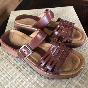Dansko brown leather slides. Size 41